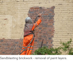 Sandblasting paint of wall