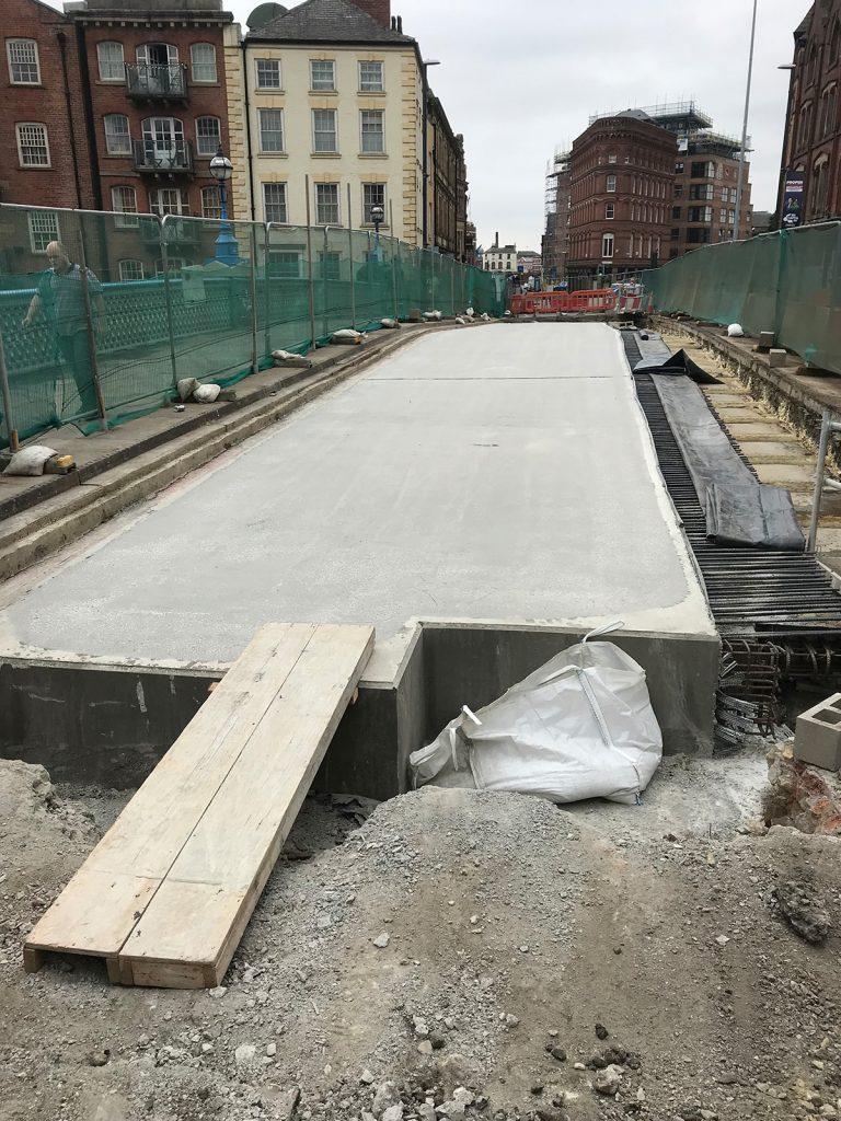 shot blasting of concrete bridge construction