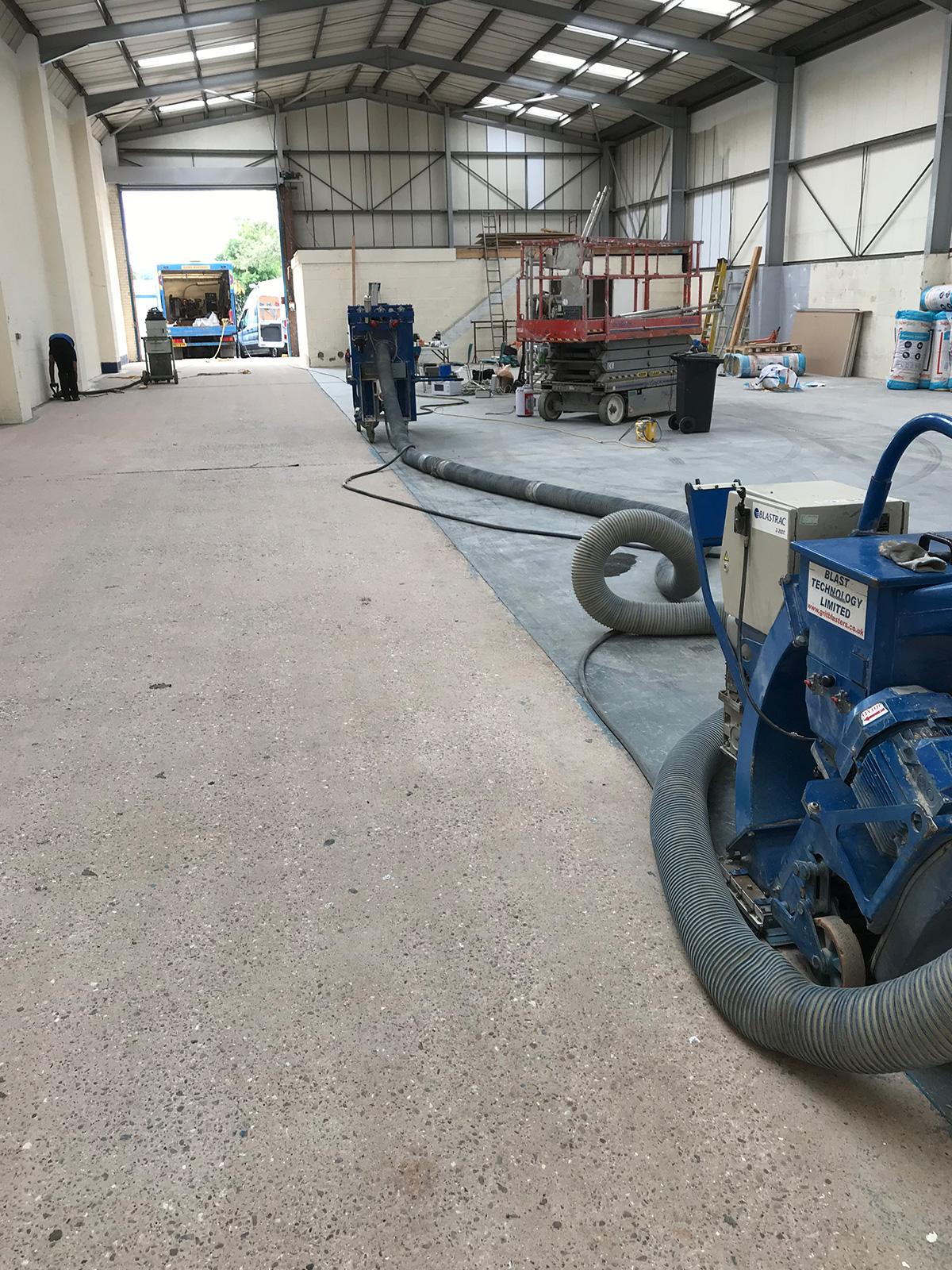 dust free shot blasting of rental unit
