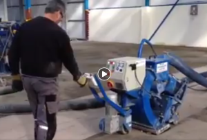 Video showing captive shot blasting in use