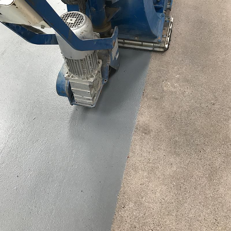 resurfacing of painted warehouse floor